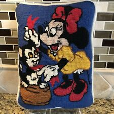 """Disney Minnie Mouse & Figaro Cat Vintage Pillow Hand Stitched Colorful 9"""" X 12"""""""