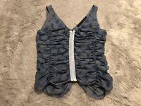 Rachel Comey Silk Blend Tank Top Size XS Blue Hook Eye Front Tan Ruched Sides