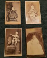 Lot of 4 Beautiful Clear CDVs Featuring Babies From the 1800s