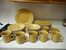 Firenza Stoneware Yellow Gold 32 Piece Set Plates Cups & Bowls Embossed
