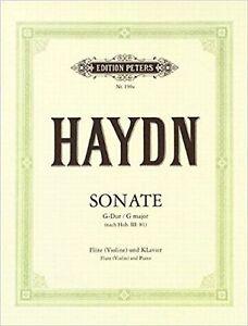 Haydn Sonata G Major Flute or Violin Piano Sheet Music Book Edition Peters S167