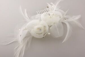 ENTICING HAIR COMB IN WHITE FEATHERS, FABRIC, CRYSTALS & FAUX PEARLS