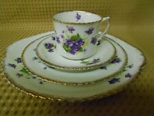 ANTIQUE VINTAGE 4 PIECE CHINA TEA SET WILD VIOLETS GILT C1900-1919