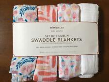 NEW Bebe Au Lait Set of 4 Muslin Swaddle Blankets Pink and Blue Floral