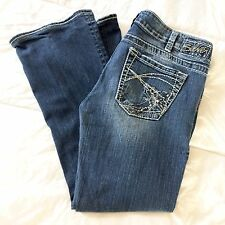 Silver Jeans Tuesday Distressed Boot Cut Stretch Studded Petite Altered 30 x 27