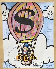 Will $treet original painting / COA Monopoly art banksy sneaks alec Mimo timmy