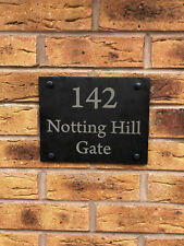 Rustic Slate House Door Number - Personalised Name Plaque Sign - Free Fittings