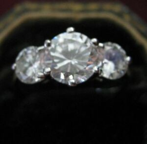 Rhodium Plated 1.75 Carat + Two 1.0 Carat, 3.75 TCW CZ Engagement Cocktail Ring