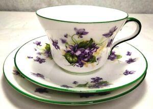 Paragon Dainty Violets Cup Saucer & Plate Trio English Bone China Green Trim