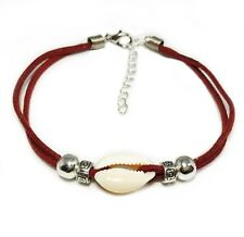"""Anklet Cowrie Shell Silver Beads Maroon Suede 25cm (9.8"""") Small Aus Made Surf"""