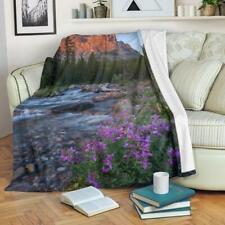Mountain River with Wildflowers Fleece Blanket - Purple Grey and Green TV Blanke