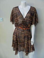 BNWT WISH 'JIBA WRAP' DRESS sz 12/M semi sheer brown with belt