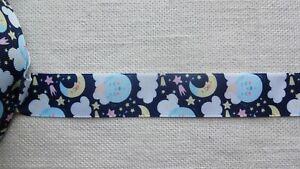 """Webband Ripsband """" Mond - Wolken - Sterne """" 1 Meter 25 mm breit - Gute Nacht"""