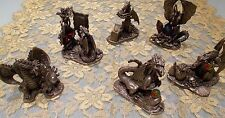 WAPW PEWTER & CRYSTAL FIGURINES ~ SET OF 6 ~ DRAGONS ~ EXCELLENT CONDITION