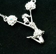 New Cheerleader Pendant Women w Austrian Crystal Necklace Silver Plated