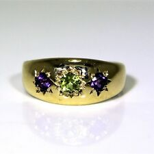9ct 9k Gold Amethyst Peridot Trilogy Ring Size 6 - L 1/2