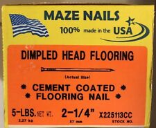 "5-Lbs. Dimpled Head Flooring 2-1/4"" Cement Coated Maze Nails, 100% Made In Usa"