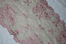 """1 yd victorian pink rose nude Tan scalloped STRETCH trim sewing lace 6.75"""" wide"""