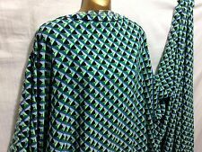 *NEW*100% Polyester Blue/Lime/Black Geometric Print Dress/Craft Fabric*FREE P&P*