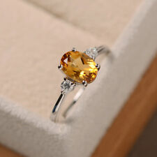 14K Solid White Gold 1.70 Ct Oval Cut Citrine Diamond Wedding Ring Size 5.5 6