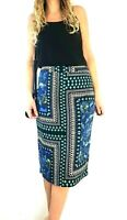M&S Autograph Midi Pencil Skirt Geometric Mixed Print Blue Black Lined Size 14