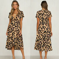 Women V-Neck Short Sleeve Leopard Casual Evening Cocktail Party Long Maxi Dress