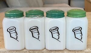 McKee White Milk Glass Chefs Cooks Head Range Shaker Set Salt Pepper Flour Sugar