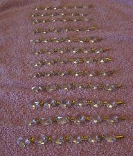 "Lot of 12 vintage gold chain crystal octagon prisms chandelier lamp 4"" long EC"