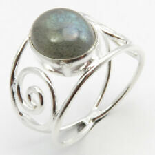 925 Sterling Silver Oval Labradorite Spiral Ring Sz 6 Face Width 13 mm