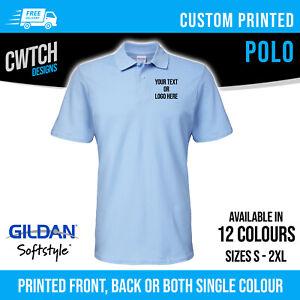 Printed Polo Shirts Personalised Custom Gildan Unisex Men Women T Shirt S-2XL