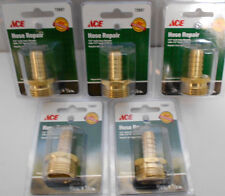 """5 Lot  3/4"""" Male GHT x 1/2"""" Barb Brass Garden Hose Lawn Adapter Fittings"""