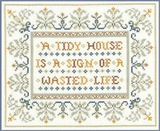 Funny Saying Sampler - complete cross stitch kit on 14 aida with COLOUR chart