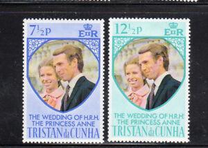 TRISTAN DA CUNHA #189-190  1973 WEDDING OF PRINCESS ANNE  MINT VF LH O.G