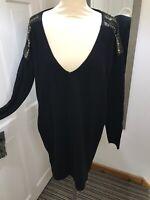 DAY BIRGER ET MIKKELSEN Black Jumper Dress Bead Embellished Shoulders Size 14