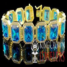 GENUINE SILVER PURE YELLOW GOLD FINISH MENS BLUE SAPPHIRE EMERALD CUT BRACELET
