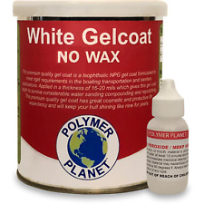 NO WAX White Gelcoat Top Coat Base (Fiberglass Marine Boat Gel Repair) Quart Kit