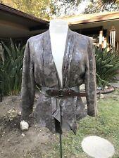 Ruby Rd Ruffled Moth Metallic Shimmer Silver Gray Taupe Blazer Jacket Ruffles 12