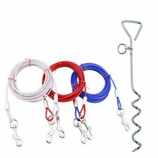 Pet Dog 10ft 16ft 32ft Garden Tie Out Lead Wire Cable Spiral Ground Stake Spike