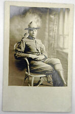 RPPC Real Picture Postcard -  WW1 SOLDIER - divided Back - AZO stamp box