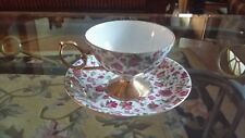 vintage pink flowers gold footed cup and saucer