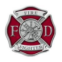 Red Firefighter Maltese Cross Sticker - Fire Engine Truck Decal
