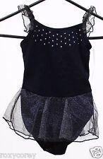Freestyle Danskin Black Sleeveless Leotard attached Silver Skirt Size Medium 7/8