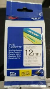 Genuine Brother TZ-231- 12mm Black on White Laminated Tape P Touch Tape. NEW