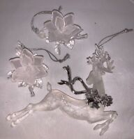 Vintage Lot of 3 Frosted Plastic Clear Christmas Ornaments Deer Rose Flower