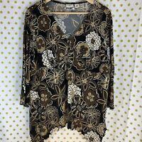CATO floral popover blouse tan brown black floral size 18 20 sharkbite hem shirt