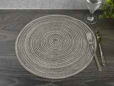 """ROUND Brown & Cream WOVEN PLACEMAT, 38cm (15"""")"""