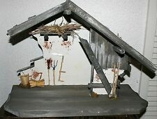 Krippe Weihnachten Holz 50 x 25 x 35 cm Krippenstall Weihnachtskrippe Stall