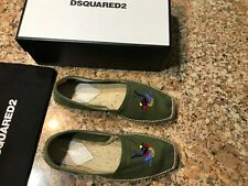 100% AUTHENTIC DSQUARED2 SLIP-ON GREEN CANVAS ESPADRILLE, SIZE US10, NEW, ITALY
