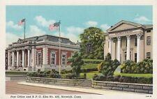Vintage POSTCARD c1947 Post Office BPO Elks No. 430 NORWICH, CT 13221