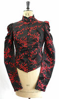 S M L RED & BLACK CHERRY BLOSSOM SATIN BLAZER JACKET COSPLAY COAT FITTED GOTHIC